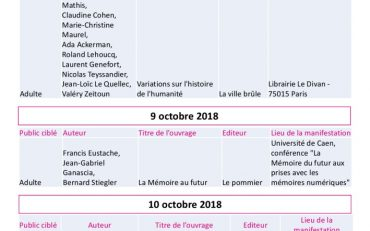 thumbnail of Listing rencontres FDS 2018 v2